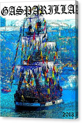 Pirate Ships Canvas Print - Gasparilla 2013 Poster Work A by David Lee Thompson