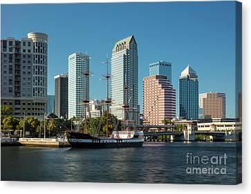 Gasparilla Pirate Ship And Tampa Skyline Canvas Print