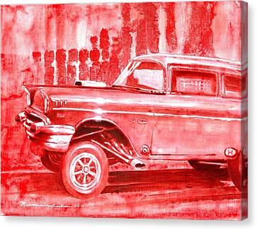 57 Chevy Canvas Print - Gasser Madness by Bernie Ramirez