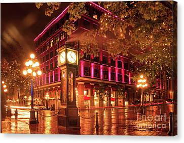 Gastown Night With Steam Rising From The Clock Canvas Print
