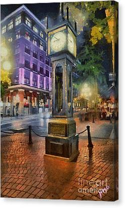 Canvas Print featuring the digital art Gastown Sreamclock 1 by Jim  Hatch