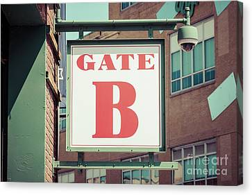 Ballpark Canvas Print - Gate B Sign At Boston Fenway Park by Paul Velgos