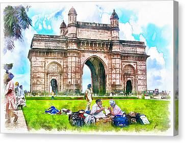Sikh Art Canvas Print - Gateway Of India by Sharon Ann Sanowar