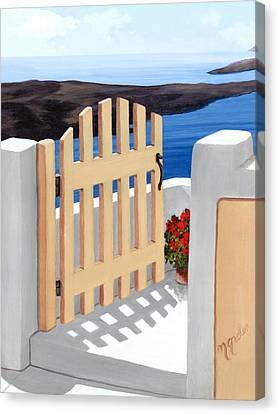 Gateway To Santorini - Prints From Original Oil Painting Canvas Print