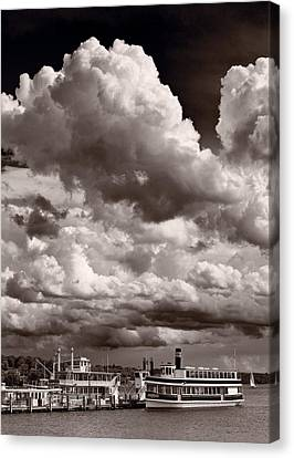 Gathering Clouds Over Lake Geneva Bw Canvas Print by Steve Gadomski