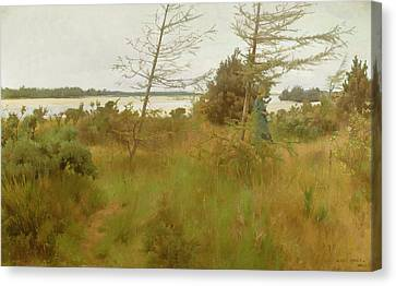 Gathering Firewood By The Shore Of A Lake Canvas Print by Alexander Mann