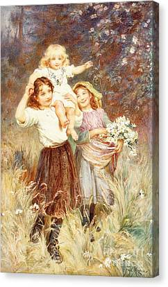 Gathering Flowers Canvas Print by Frederick Morgan