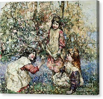 Gathering Primroses, 1919  Canvas Print by Edward Atkinson Hornel