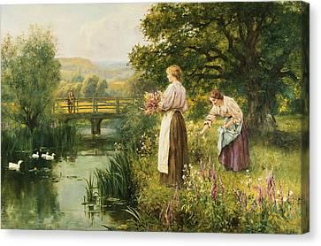 Gathering Spring Flowers Canvas Print by Henry John Yeend King