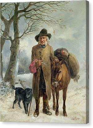 Barker Canvas Print - Gathering Winter Fuel  by John Barker