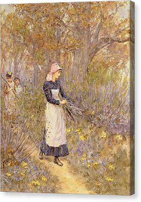 Gathering Wood For Mother Canvas Print by Helen Allingham