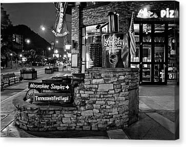 Gatlinburg Tennessee Canvas Print - Gatlinburg Moonshine Samples In Black And White by Greg Mimbs