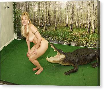 Canvas Print featuring the photograph Gator Bites by Lucky Cole