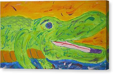 Gator In Bloom Canvas Print by Yshua The Painter