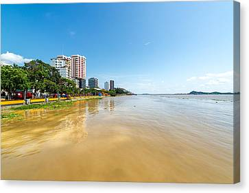 Gauayas River And Guayaquil Canvas Print by Jess Kraft