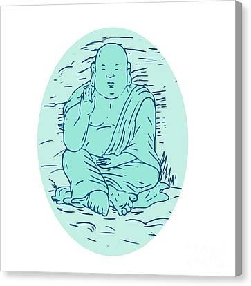 Buddha Sketch Canvas Print - Gautama Buddha Lotus Pose Drawing by Aloysius Patrimonio
