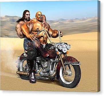 Gay Biker Art Motorcycle Bear Pride Bodybuilder Skinhead Nude Naked Male Painting Vykkurt Canvas Print by    Vykkurt