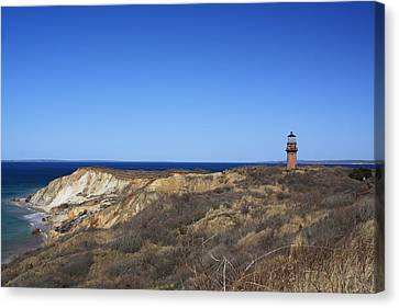 Canvas Print featuring the photograph Gay Head Lighthouse And Cliffs by Greg DeBeck