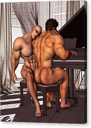 Gay Pianist Piano Art Digital Painting Musician Music Print Naked Bodybuilder Nude Male Canvas Print by    Vykkurt