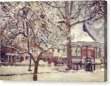 Gazebo In Snow - Milford New Hampshire Canvas Print by Joann Vitali
