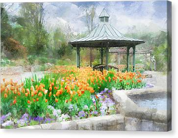 Canvas Print featuring the digital art Gazebo With Tulips by Francesa Miller