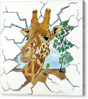 Canvas Print featuring the painting Gazing Giraffe by Teresa Wing