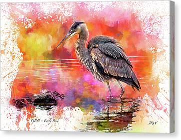 Great Blue  Heron  Early Bird Canvas Print
