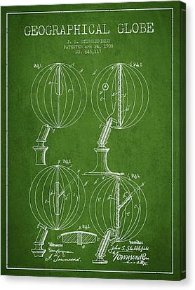 Geaographical Globe Patent From 1900 - Green Canvas Print by Aged Pixel