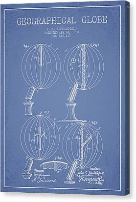 Geaographical Globe Patent From 1900 - Light Blue Canvas Print by Aged Pixel