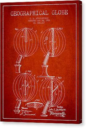 Geaographical Globe Patent From 1900 - Red Canvas Print by Aged Pixel