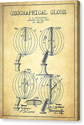 Geaographical Globe Patent From 1900 - Vintage Canvas Print by Aged Pixel