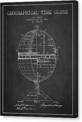 Geaographical Time Globe Patent From 1900 - Charcoal Canvas Print by Aged Pixel