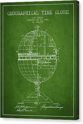 Geaographical Time Globe Patent From 1900 - Green Canvas Print by Aged Pixel