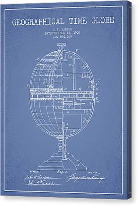 Geaographical Time Globe Patent From 1900 - Light Blue Canvas Print by Aged Pixel