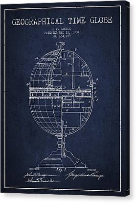 Geaographical Time Globe Patent From 1900 - Navy Blue Canvas Print by Aged Pixel