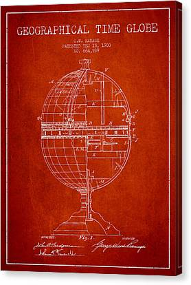 Geaographical Time Globe Patent From 1900 - Red Canvas Print by Aged Pixel