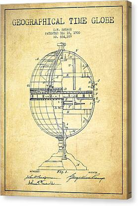 Geaographical Time Globe Patent From 1900 - Vintage Canvas Print by Aged Pixel