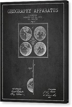 Geaography Apparatus Patent From 1873 - Charcoal Canvas Print by Aged Pixel