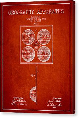 Geaography Apparatus Patent From 1873 - Red Canvas Print by Aged Pixel