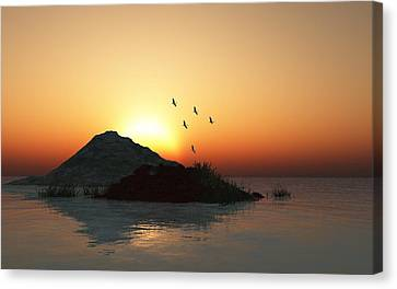 Geese And Sunset Canvas Print by David Lane