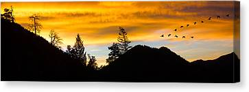 Canvas Print featuring the photograph Geese At Sunrise by Shane Bechler