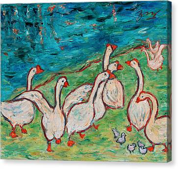 Canvas Print featuring the painting Geese By The Pond by Xueling Zou