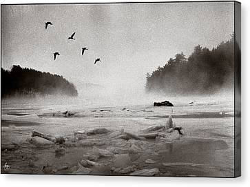 Canvas Print featuring the photograph Geese Over Great Bay by Wayne King