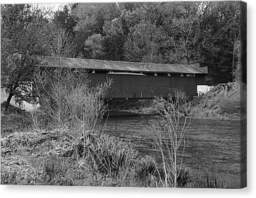 Geiger Covered Bridge B/w Canvas Print by Jennifer Ancker