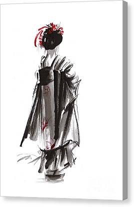 Geisha Abstract Painting. Canvas Print by Mariusz Szmerdt