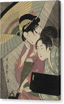 Geisha And Attendant On A Rainy Night Canvas Print by Kitagawa Utamaro