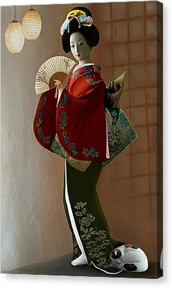 Geisha And Cat Canvas Print by Thanh Thuy Nguyen