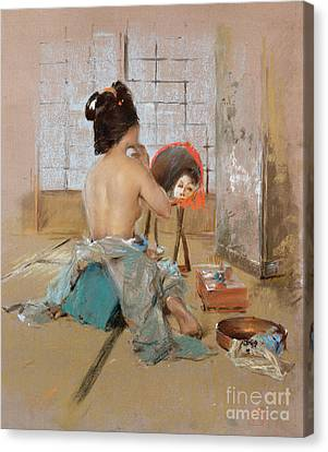 Geisha At Her Toilet  Canvas Print by Robert Frederick Blum