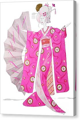 Geisha Barbie -- Whimsical Geisha Girl Drawing Canvas Print