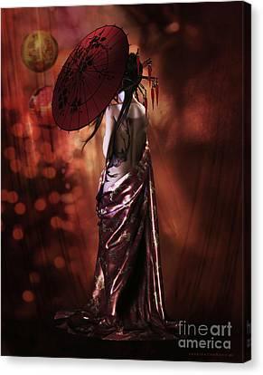 Canvas Print featuring the digital art Geisha Gold by Shanina Conway